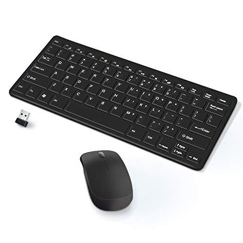KawKaw Mechanische Bluetooth Tastatur-Set mit Maus&USB Empfänger für PC - Wireless Keyboard im QWERTY-Format für Arbeit und Gaming (Schwarz)