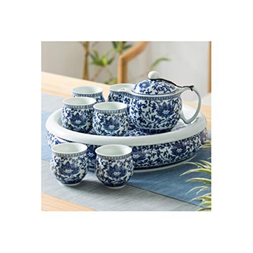 Juego de tetera, set de té chino set de té set de té regalo tetera de cristal tetera con infusor Teacup plato té set taza y platillo set tetera taza set taza cerámica taza con bandeja olla con filtro de té separatio