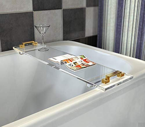 ONELUX Custom Made Durable Clear Acrylic Bathtub Tray Caddy with Metal Handles,Lucite Bathroom Tray Rack