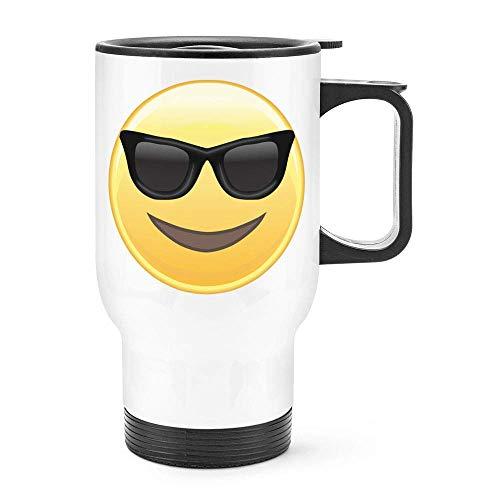 Dozili - Taza térmica de acero inoxidable con diseño de emoticono de gafas de sol y cara sonriente, 14 onzas