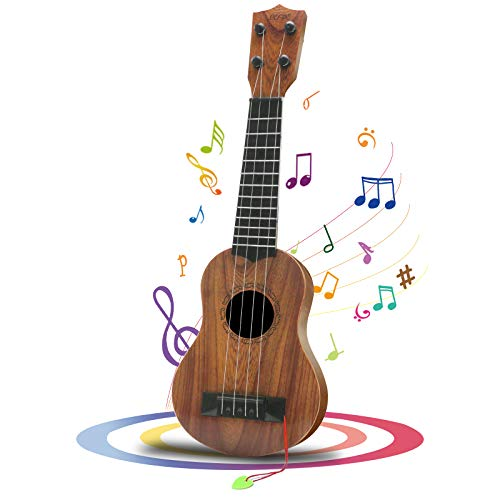 QDH Kids Toy Ukulele, Kids Guitar Musical Toy,17 Inch 4 Steel Strings, with Pick, Kids Play Early Educational Learning Musical Instrument Gift for Preschool Children, Ages 3-6(Wooden Color) (17inch)