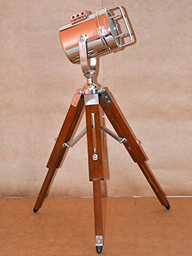 antiquegifts2019 Faro Nautico da Collezione Lampada da Tavolo con Luce Spot in Finitura cromata con treppiede Marrone Brown