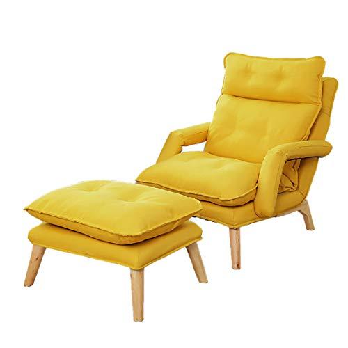 NO ONE Stoffsessel Beistellsessel Sofa Klappbarer Ruhesessel Lounge mit Massivholzbeinen und Fußhocker für Wohnzimmer Schlafzimmer Erhältlich in fünf Varianten Colors,Gelb