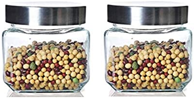 HOMIES INTERNATIONAL, Set of 2 Pieces Square Glass jar Set Container with Steel lid, for Tea, Sugar, Coffee, Cookie, Cereals etc. Dimension: 10.5 (L)*9 (D) cms, Color: Clear (Steel lid)