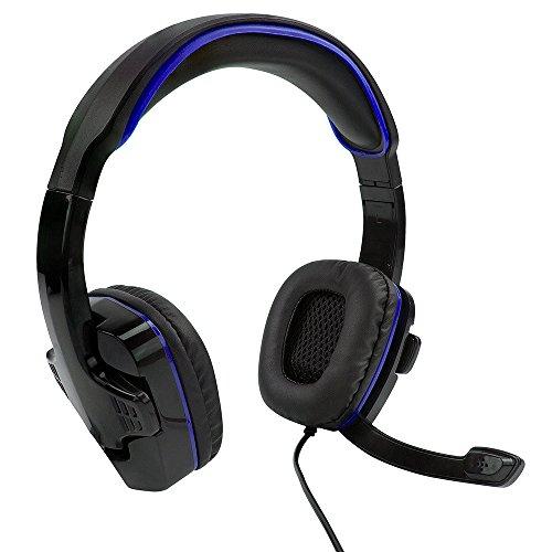 SF1 Stereo Gaming Headset für Playstation 4/5, Xbox One, Serie X / S, Nintendo Switch, PC, faltbares Mikrofon, einstellbares Kopfband, Inline-Lautstärke und Stummschaltung - Schwarz und Blau