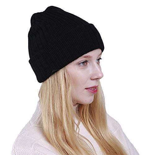 Planuuik Vrouwen Winter Ribbed Knit Verticaal gestreepte muts Cap Neon Color Ski Cuffed Hat