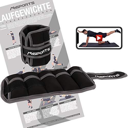 MSPORTS Gewichtsmanschetten -einstellbar- Paar 1 kg Fuß- und Hand-Gewichte inkl. Übungsposter + Work Out App GRATIS (1 KG - 1 Paar)