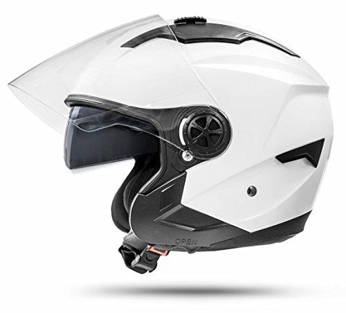 ATO Moto Jet Helm LA Street Motorradhelm mit Doppelvisier System Integrierte Visiermechanik 4 punkt Belüftung und neuster Sicherheitsnorm ECE 2205 Größe: M 57-58cm