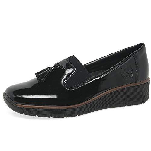Rieker Gleam Womens Tassel Loafers 36 EU Schwarz Lack