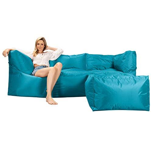 Big Bertha Original Modular Sofa Bean Bag, Zips Together - Aqua Blue