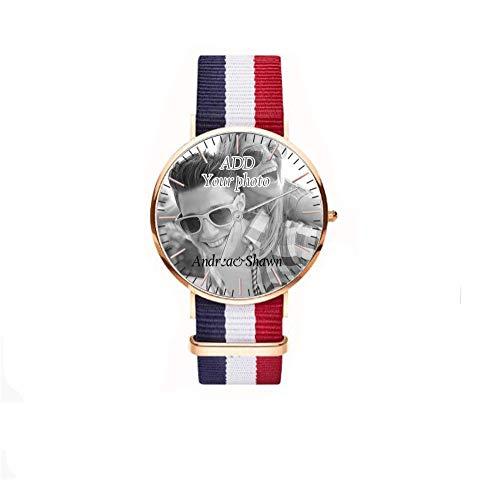 Gravierte Photo & TextMen's Fashion Watch Einfache Casual Quarz Datum Minimalist Armbanduhren Uhr mit Lederband