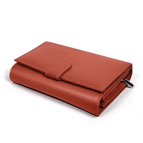 Damen Geldbörse Echte Leder - Portemonnaie für Frauen mit Druckknopf - Geräumiger Geldbeutel mit Taschen für Bargeld, Kreditkarten und Dokumenten - 18x10.5x3.5 cm - Corsi Firenze (Orange)
