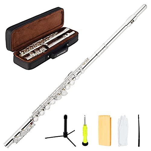 EASTROCK Flautas de agujero abierto/cerrado C 16 Llave para principiantes, niños, estudiantes - Flauta de plata con soporte y kit de limpieza