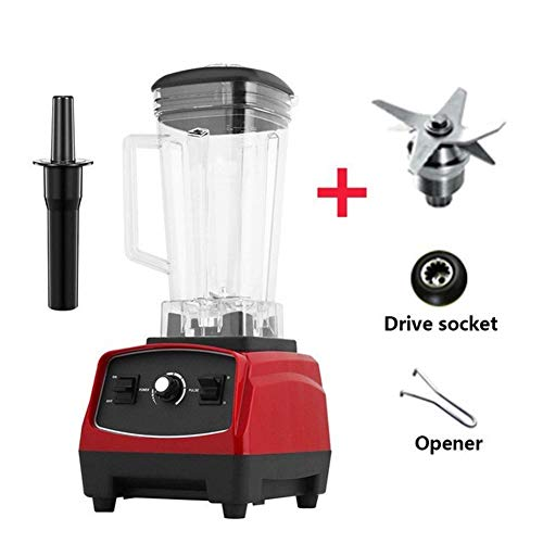 YJXD sans BPA 3HP 2200W Heavy Duty Commercial Grade Blender Mixer Juicer High Power Robot Ice Smoothie Bar Fruit Blender (Color : Red bladedrivetool)