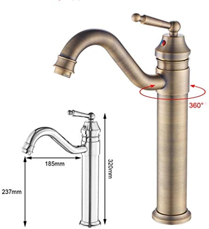 DYR Wasserhahn Antik Messing Wasserhahn, Retro Single-Loch heier und kalter Wasserhahn, Waschbecken Wasserhahn