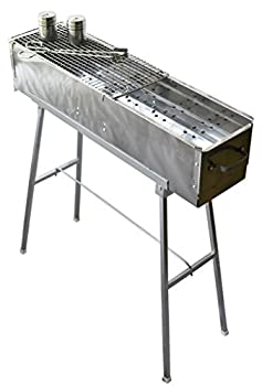 """Party Griller Yakitori Grill 32"""" x 8  w/Double Mesh Grill Grate - Portable Stainless Steel Charcoal BBQ Grill Great Satay Japanese Hibachi Makes Juicy Lamb Shish Kebab Shashlik Spiedini Skewer"""