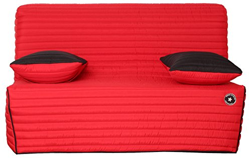 CANAPES TISSUS Lotus Banquette Bz, Polyester, Rouge, 142 x 96 x 90 cm