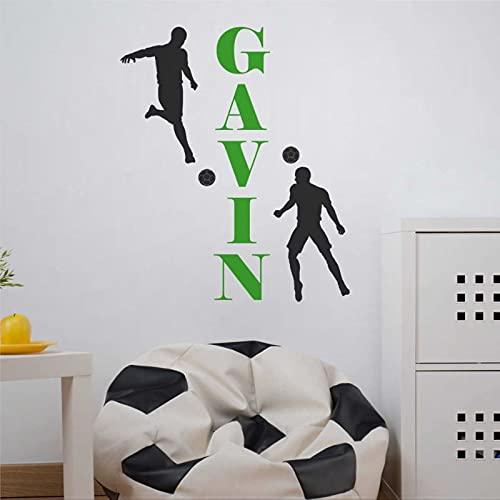 Calcomanía de pared para jugadores de fútbol con nombre personalizada, pegatina de fútbol para niños, adolescentes, deportes, extraíble, para decoración de pared, mural, decoración para el hogar bw273