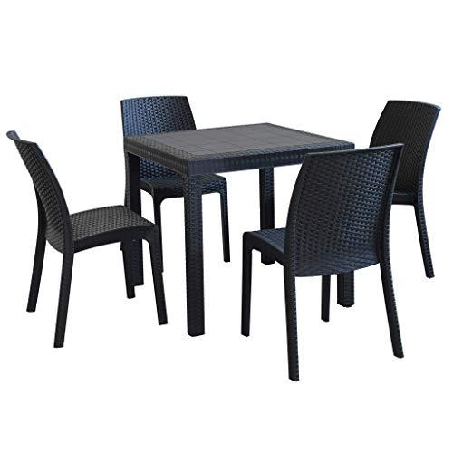 MilaniHome Set Tavolo da Giardino Quadrato Fisso Cm 80 X 80 con 4 Sedie in Wicker Stampato Antracite da Esterno Giardino