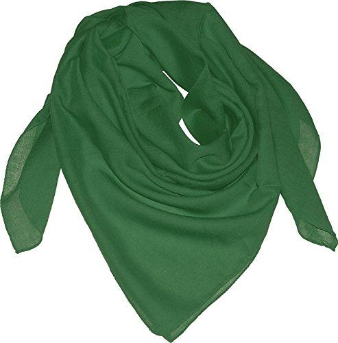 Harrys-Collection Damen Herren Baumwolltuch in vielen Farben 100 x 100 cm, Größen:Einheitsgröße, Farben:grün