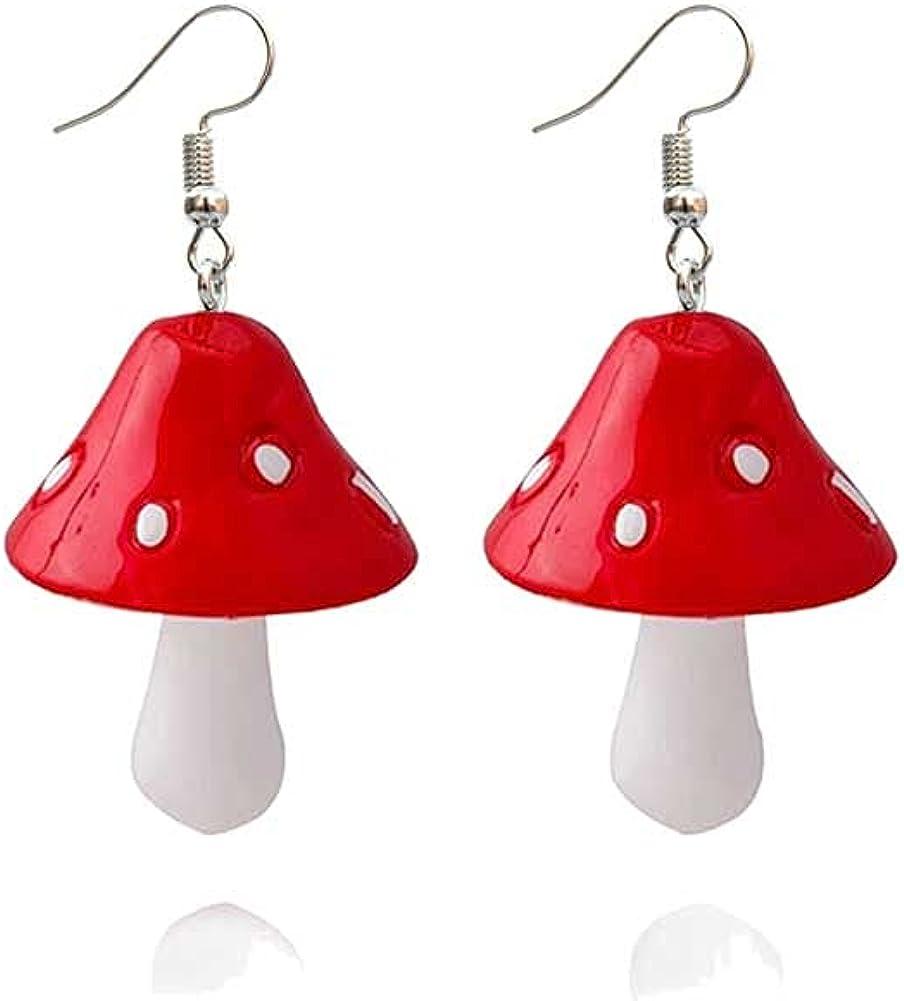 Handmade Colored Beaded Necklace Daisy Flower Beads Mushroom Pendants Chokers Y2k Handmade Glass Fresh Mushrooms Necklaces Boho 3D Mushroom Earrings for Girls Women Bohemia Vacation
