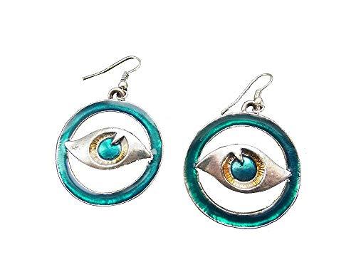 Schmuck-Krone - Pendientes con diseño de tercer ojo, color azul turquesa
