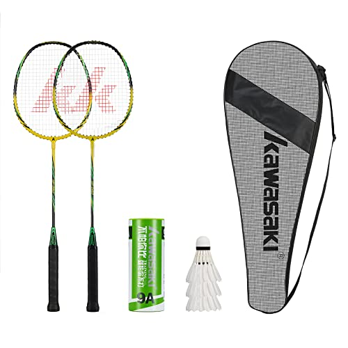Kawasaki- 2 Player Badminton Racquets Set Double Rackets Aluminum Shaft Badminton Racket Set- 1 Carrying Bag Included(Yellow/Green