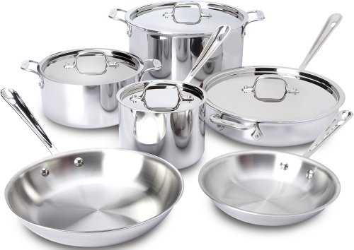 All-Clad 401877R Stainless Steel 3-Ply Bonded Dishwasher Safe Cookware Set, 10-Piece, Silver