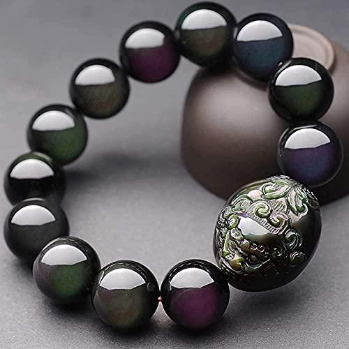 HYJMJJ Feng Shui Pulsera Natural Rainbow Eye Bead Bead Obsidian Doble Pixiu/Piyao Black Beads Lucky Charm Amuleto Atraer Money Love Man/Mujer Puede traer Buena Suerte