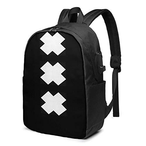 Lsjuee XXX-Blacklist Mochila Escolar USB de Gran Capacidad de Lona Mochila de Viaje Informal para Adultos Adolescentes Mujeres Hombres 17 Pulgadas