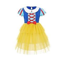 IWEMEK Blancanieves Princesa Disfraz de Halloween Bebé Niñas Vestido de Fiesta Largo de Tulle Carnaval Cumpleaños Ceremonia Comunión Navidad Paseo ...