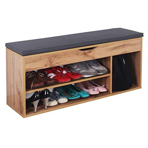 RICOO WM034-EW-A Banco Zapatero 104x49x30cm Armario Interior con Asiento Organizador Zapatos Mueble recibidor Perchero Madera Roble marrón