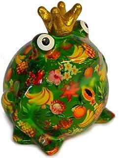 Pomme Pidou Skarbonka żaba z sercami, kwiatami lub motywem ptaka, designerska skarbonka Greenline z ceramiki (zielona - Tr...