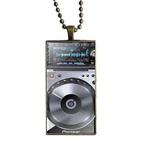 Digital Mixer Dj Plattenspieler Für Frauen Kinder Geschenk Bronze Farbe Glas Cabochon Mit Rechteckförmigen Anhänger Choker Halskette