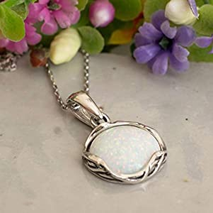 925 Sterling Silver White Opal Necklace - Dainty 12mm Round Gemstone Pendant, October Birthstone Bridal Wedding Jewelry, Handmade Vintage Statement Jewel for Classy Brides and Women