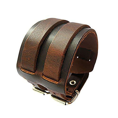 Brussels08 - Bracciale da uomo vintage a 2 strati, in finta pelle, con fibbia, regolabile, idea regalo per uomini e ragazzi, colore: marrone