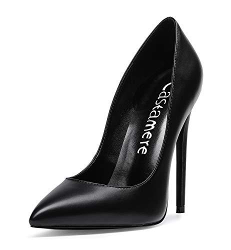 CASTAMERE Mujer Zapatos de Tacón Zapatos Mujer Tacon Fiesta Sexy Clásico Stilettos High Heels Forro Negro Zapatos Tacones Altos 12cm PU Negro EU 39