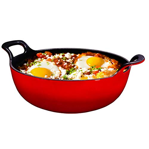 Enameled Cast Iron Balti Dish With Wide Loop Handles, 3 Quart, Fire Red, Small