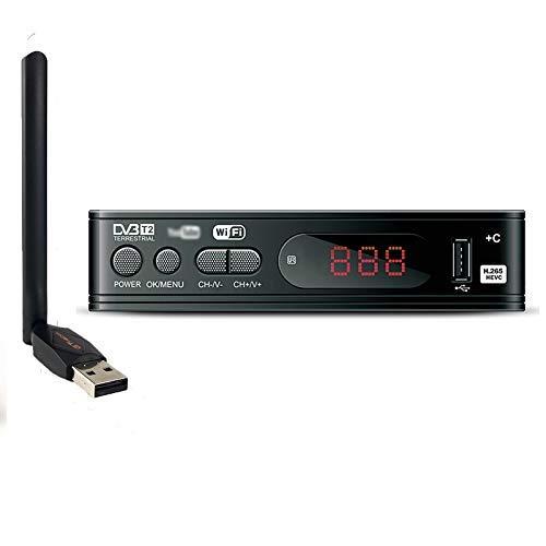 Docooler Decoder Ricevitore TV DVB-T/T2/C,Compatibile con H.265 WiFi USB 2.0 Full HD 1080P con Telecomando,Supporto PVR Youtube
