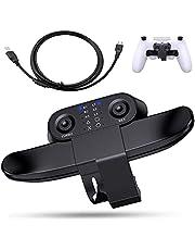 ENKE PS4 背面ボタンアタッチメント 発売 PS4純正 コントローラー用 背面パドル 簡単設定 リコイル制御 連射 ボタン切替機能 日本語説明書付き(ブラック)