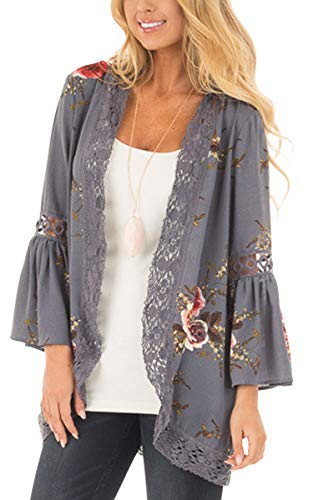 ECOWISH Womens Floral Print Loose Puff Sleeve Kimono Cardigan Lace Patchwork Cover Up Blouse,US XL,Gray