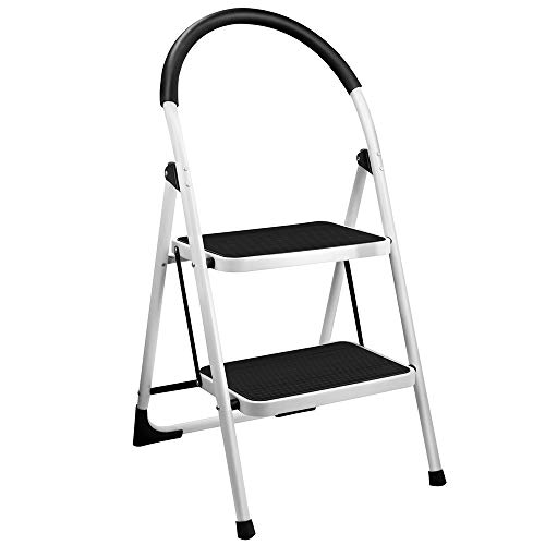 Gimify 2 Step Stool, Folding Step Ladder Steel Stepladders (Upgraded Version) Non-Slip Sturdy Steps Wide Pedal with Comfortable Hand Grip for Home Kitchen Garden Office 330 lbs