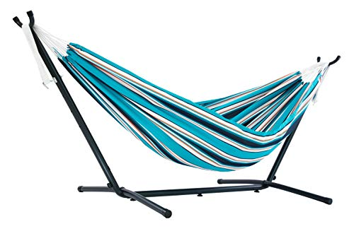 Vivere Double Sunbrella Hammock with Space Saving Steel Stand, Token Surfside (450 lb Capacity - Premium Carry Bag Included)