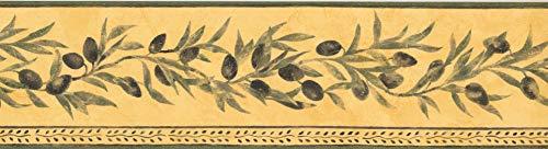 Tapetenbordüre, Oliven, gelb, grün, klassisch, 38 x 13,3 cm, TK78262