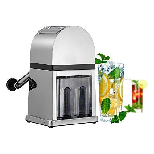 Pittaigo Manual Ice Crusher, Shaved Ice Maker Snow Cone Machine Ice Shaver for Home Bar Restaurant Party Cold Drinks, Zinc Alloy Construction, Stainless Steel Blades for Fast Crushing