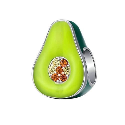 Charms Bead Love Avocado, Charm para mujer Pandora Jewelry Chapado en plata Moda para parejas Aguacate Fruit Charms Fit Pulsera para accesorios europeos El mejor regalo