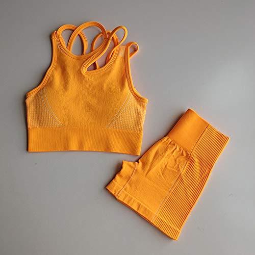 Naadloze Yoga Set 2 Piece Sports vrouwelijke pak Kleren van de Training Medium Ondersteuning sportbeha + hoge taille Gym Shorts Vrouwen Sportwear
