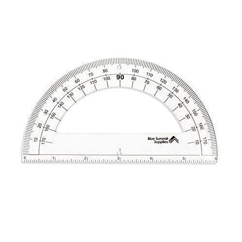 Blue Summit Supplies 30 Clear Plastic Protractors, 6 Inch, 180 Degrees, Classroom Set of Kids Protractor Rulers for Geometry and School Use, 30 Pack