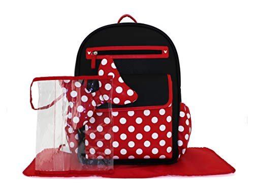 Cudlie Disney Minnie Mouse Backpack Diaper Bag Polka Dot Big Bow Made with PU/Vegan Leather (Includes Wet Pocket & Changing Pad), Minnie Mouse Polka Dot Bow- Black