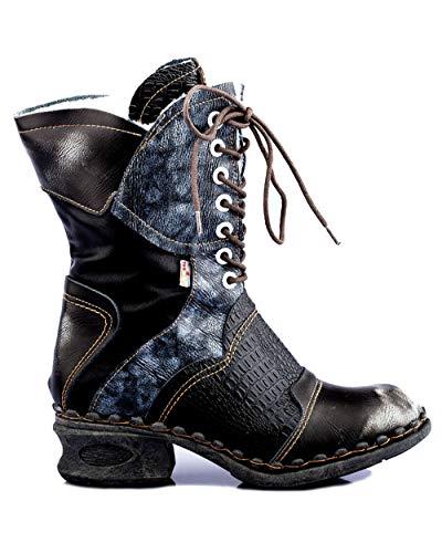 TMA 5766 Damen Stiefel Leder gefüttert schwarz EUR 42